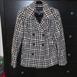 Wool black and white plaid jacket
